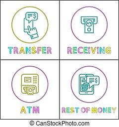 セット, お金, lineout, 現金, 移動, 受け取ること, アイコン