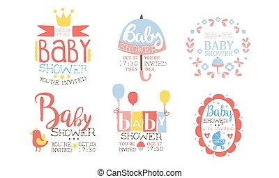 セット, かわいい, 招待, テンプレートを設計しなさい, 祝福, パーティー, イラスト, 要素, シャワー, ベクトル, 赤ん坊, 新生