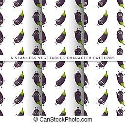セット, かわいい, 隔離された, 白, なす, 特徴, 背景, 野菜, パターン, 漫画, seamless, ベクトル