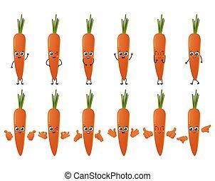 セット, かわいい, 隔離された, 白, ニンジン, 背景, 野菜, 漫画, 特徴, ベクトル