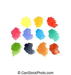 セット, しみになる, 背景, 水彩画のペンキ, 色