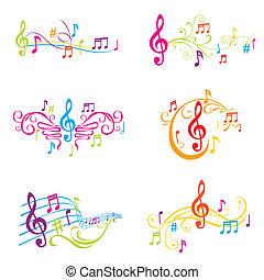 セット, の, カラフルである, 音楽的な ノート, イラスト, -, 中に, ベクトル