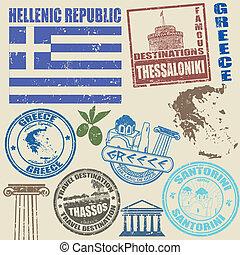 セット, の, ギリシャ, スタンプ