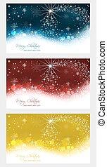 セット, の, クリスマス, グリーティングカード, ∥で∥, クリスマスツリー, 上に, 抽象的, 雪, バックグラウンド。