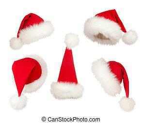 セット, の, クリスマス, santa, 帽子