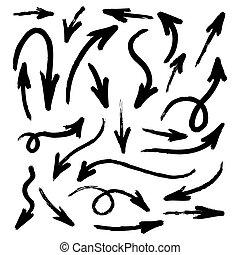 セット, の, グランジ, 手, 水彩画, 引かれる, 矢, 隔離された, 白