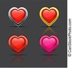 セット, の, グロッシー, hearts., ベクトル, illustration.