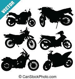 セット, の, シルエット, オートバイ