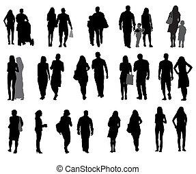 セット, の, シルエット, 歩くこと, 人々, そして, children., ベクトル, illustration.