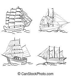 セット, の, スケッチ, 帆船