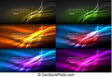 セット, の, ネオン, 滑らかである, ライト, 白熱, 波, 暗やみに, 抽象的, 背景