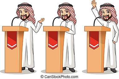 セット, の, ビジネスマン, サウジアラビア人, アラビア人, 人, 寄付, a, スピーチ, の後ろ, 演壇