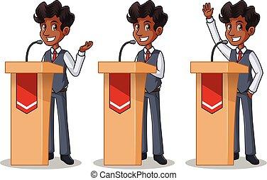 セット, の, ビジネスマン, 中に, ベスト, 寄付, a, スピーチ, の後ろ, 演壇