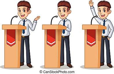 セット, の, ビジネスマン, 中に, ワイシャツ, 寄付, a, スピーチ, の後ろ, 演壇