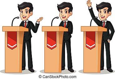 セット, の, ビジネスマン, 中に, 黒いスーツ, 寄付, a, スピーチ, の後ろ, 演壇