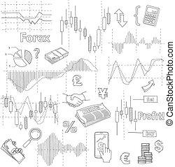 セット, の, ビジネス, いたずら書き, elements., forex, 市場, 手, 引かれる, イラスト, vector.
