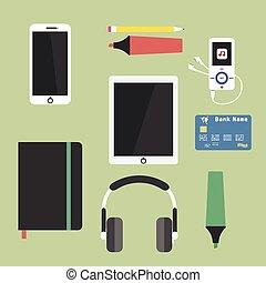 セット, の, ビジネス, 仕事, 要素, ∥ために∥, デジタル, マーケティング
