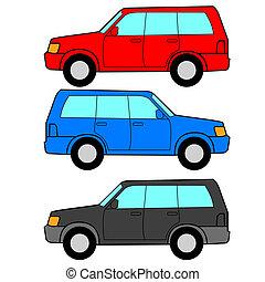 セット, の, ベクトル, アイコン, -, 交通機関, symbols.