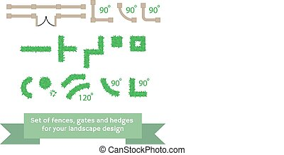 セット, の, ベクトル, フェンス, そして, hedges.