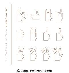 セット, の, ベクトル, 手, ジェスチャー, 中に, モノラル, 薄いライン, スタイル