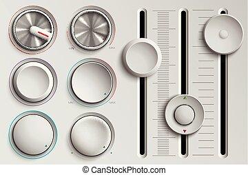 セット, の, ボタン, そして, faders, 音量調節