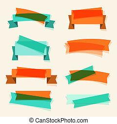 セット, の, レトロ, リボン, 旗, そして, デザイン, elements.