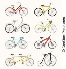 セット, の, レトロ, 自転車