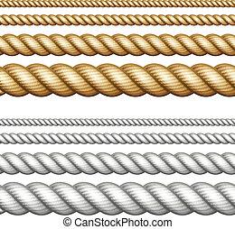 セット, の, ロープ, 白