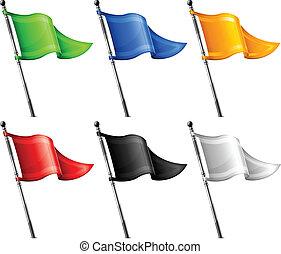 セット, の, 三角形, 旗