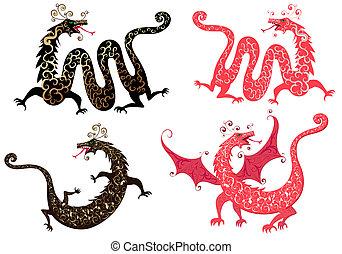セット, の, 中国のドラゴン