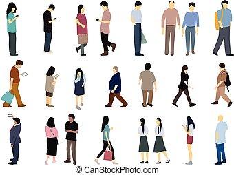 セット, の, 人々が中にいる, 単純である, 平ら, 漫画, ベクトル, デザイン