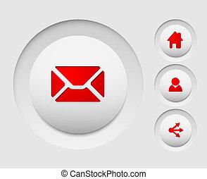 セット, の, 単純である, ベクトル, 網, 円, ボタン, (home, 分け前, ユーザー, email)