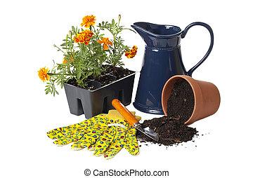 セット, の, 園芸 用具