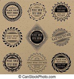 セット, の, 型, サイン, そして, labels.