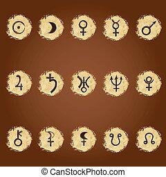 セット, の, 型, サイン, の, 惑星