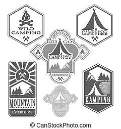 セット, の, 型, 森, キャンプ, バッジ