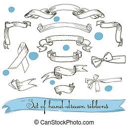 セット, の, 型, ribbons.