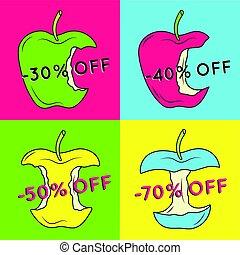 セット, の, 夏, セール, 背景, ∥で∥, apple.