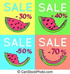 セット, の, 夏, セール, 背景, ∥で∥, watermelon.