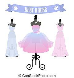 セット, の, 夕方, dresses., 型, 服, 上に, mannequins., vector.