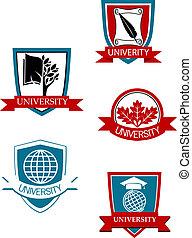 セット, の, 大学, そして, 大学, シンボル