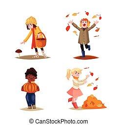 セット, の, 子供, 楽しむ, 屋外, 秋, 秋, 活動