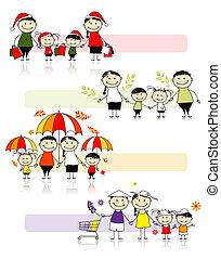 セット, の, 家族, イラスト, 4つの季節