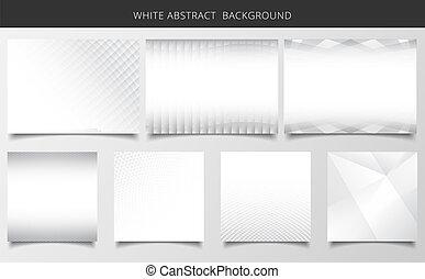 セット, の, 幾何学的な パターン, 白, そして, グレーのバックグラウンド, texture.