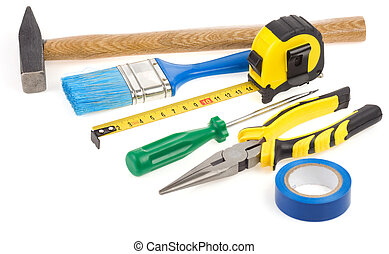セット, の, 建設, 道具, 隔離された, 白