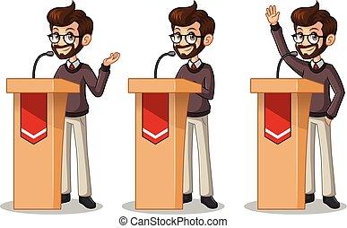 セット, の, 情報通, ビジネスマン, 寄付, a, スピーチ, の後ろ, 演壇