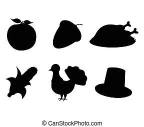 セット, の, 感謝祭, day:, アップル, ドングリ, トルコ, トウモロコシ, 帽子, icon., 単純である, style., ベクトル, イラスト