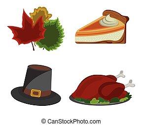 セット, の, 感謝祭, day:, トルコ, 帽子, カボチャ パイ, 葉, icon., 漫画, style., ベクトル, イラスト