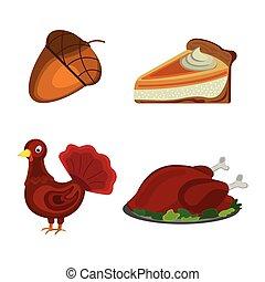 セット, の, 感謝祭, day:, ドングリ, トルコ, カボチャ パイ, icon., 漫画, style., ベクトル, イラスト