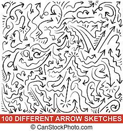 セット, の, 手, 引かれる, 矢, sketches., 黒, グラフィック, ポインター